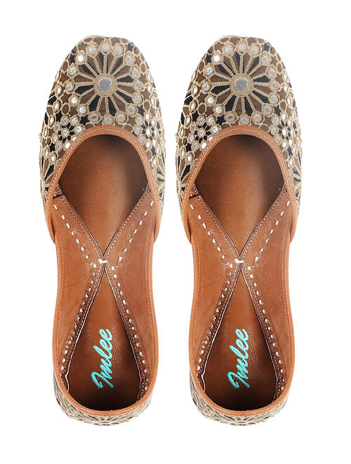 Brown Black Handcrafted Mashru Silk and Leather Juttis with Mirrors