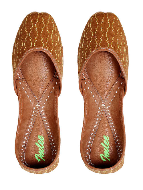 Brown Gold Handcrafted Leather Jutti