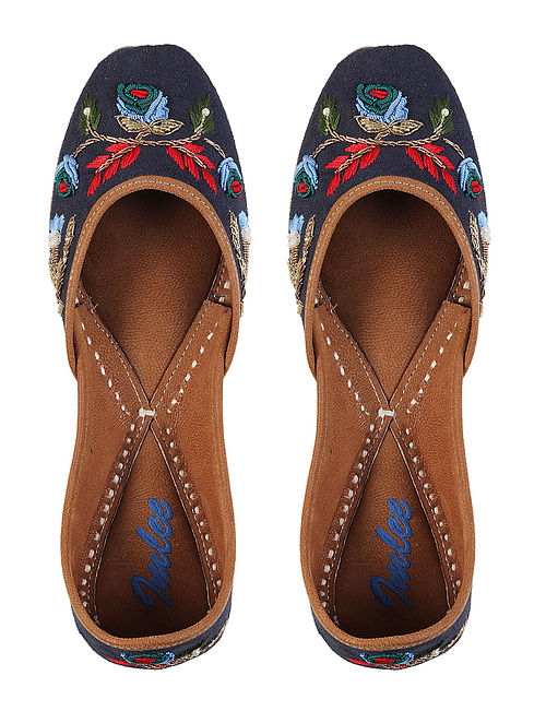 Navy Blue Hand Embroidered Leather Jutti