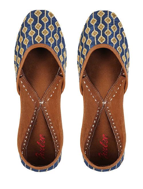Blue Gold Gotapatti Leather Jutti