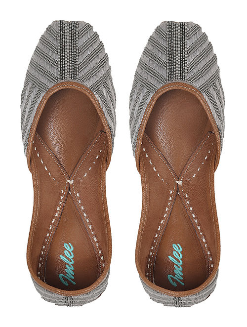 Grey Silver Hand Embroidered Leather Jutti
