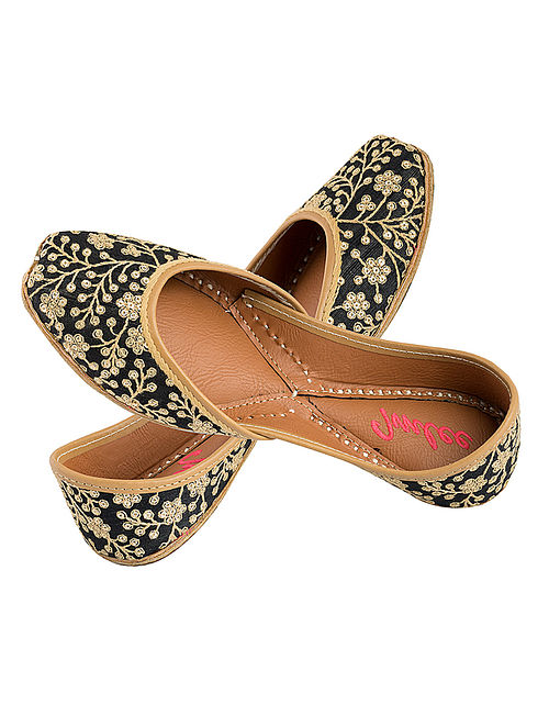 Black-Gold Sequin and Thread Embroidered Silk and Leather Juttis for Women