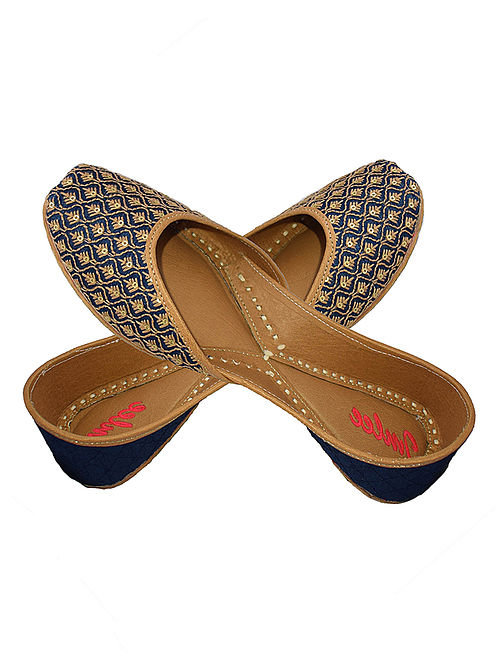 Blue-Beige Sequin and Thread Embroidered Silk and Leather Juttis for Women