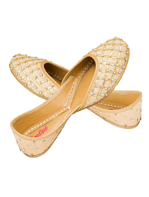 Beige-Golden Gota Patti Embellished Silk and Leather Juttis