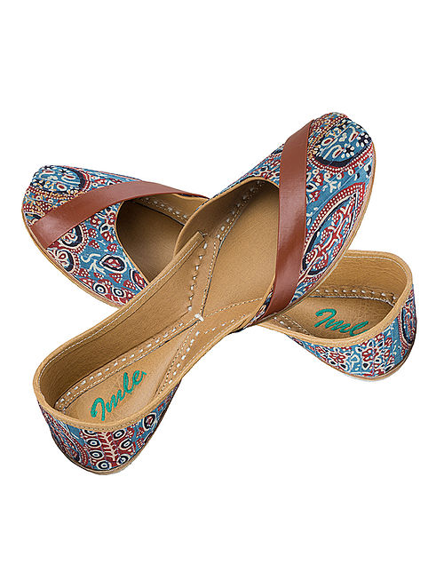 Blue-Rust Ajrakh-Printed Cotton and Leather Juttis