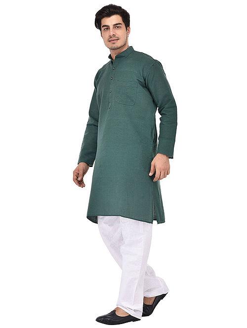 Green Full Sleeve Cotton Khadi Kurta