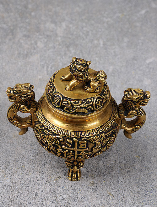 Brass Tibetain & Nepali Incense Burner 4.5in x 3in 4.2in