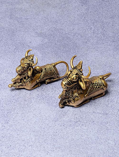 Dull Gold Brass Nandi Statue (Set of 2) 5in x .5in x 3.5in