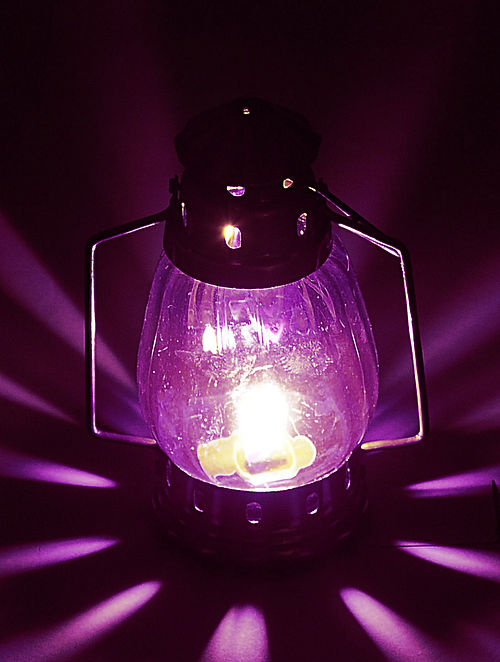 Purple Glass-Brass Lantern 4.6in x 3.2in x 8.2in