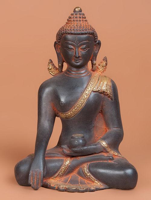 Brass Kundal Buddha Statue 4.2in x 6in x 8in