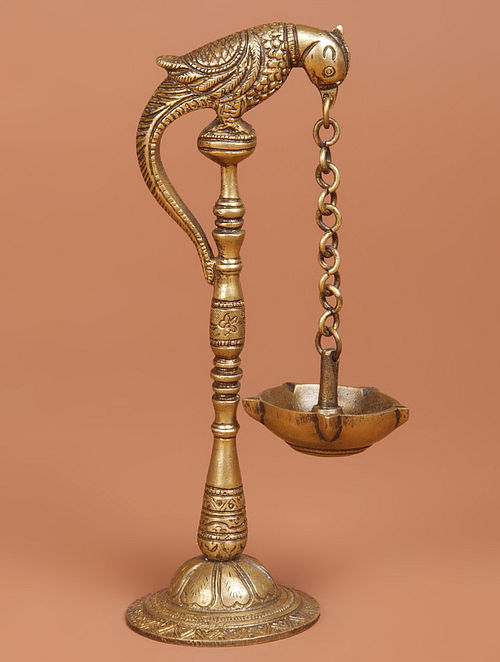Brass Parrot Oil Lamp 2.6in x 2.5in x 7.5in