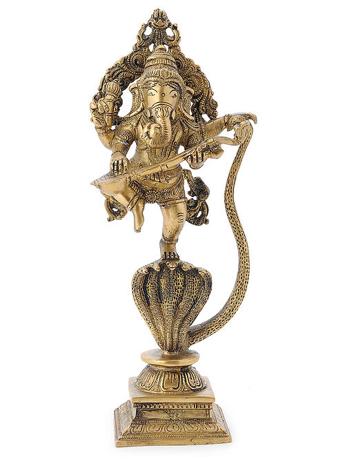 Brass Home Accent with Lord Ganesha on Sheshnag Design