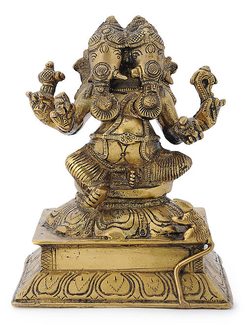 Brass Home Accent with Two-headed Lord Ganesha Design