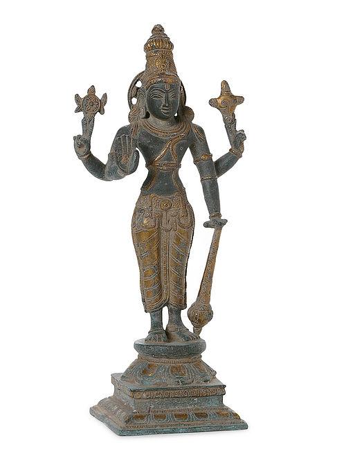 Brass Home Accent with Lord Vishnu Design