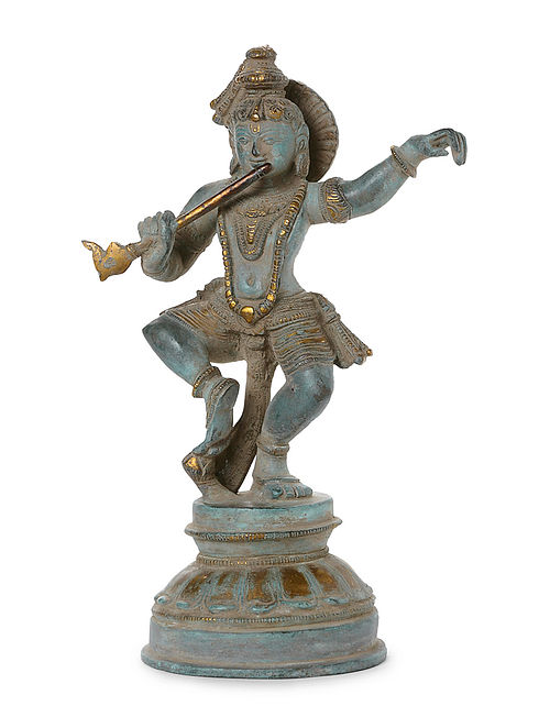 Brass Home Accent with Lord Krishna Design