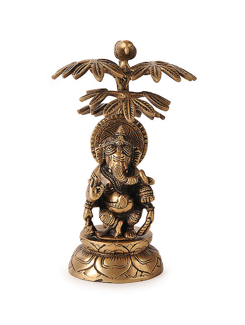 Brass Home Accent with Lord Ganesha Under Tree Design (L:4.6in, W:4.6in, H:4.5in)