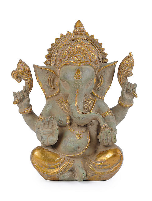 Brass Home Accent with Ganesha Design (L - 7in, W - 3.7in, H - 9in)
