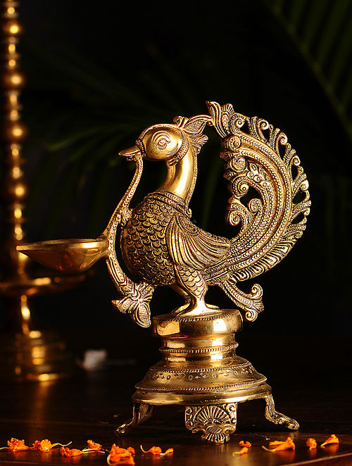 Brass Bird Lamp (L- 8.3in, W- 4.1in, H- 8.5in)