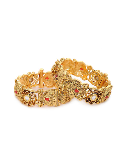Red Gold Tone Kundan Bangles (Set of 2) (Bangle Size: 2/4)