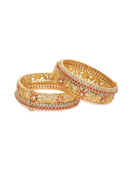 Red Gold Tone Kundan Bangles (Set of 2) (Bangle Size: 2/6)