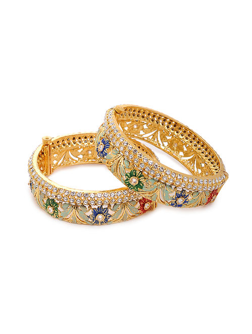 Multicolored Gold Tone Kundan Bangles (Set of 2) (Bangle Size: 2/6)