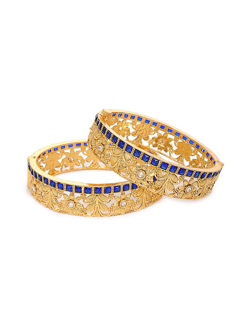 Blue Gold Tone Kundan Bangles with Pearls (Set of 2) (Bangle Size: 2/6)