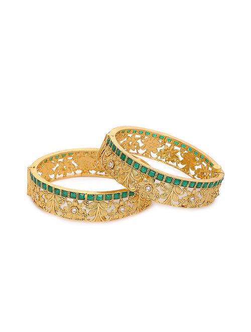 Green Gold Tone Kundan Bangles with Pearls (Set of 2) (Bangle Size: 2/6)