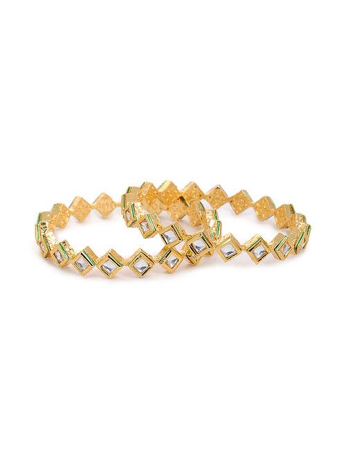 Gold Tone Kundan Bangles (Set of 2) (Bangle Size: 2/6)
