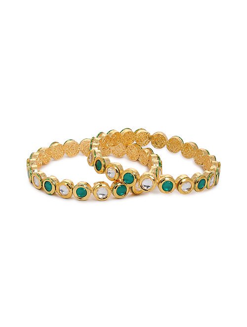 Green Gold Tone Kundan Bangles (Set of 2) (Bangle Size: 2/4)