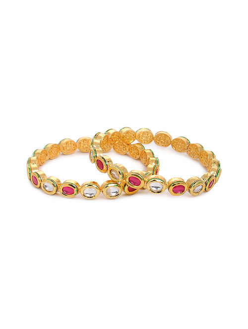 Pink Gold Tone Kundan Bangles (Set of 2) (Bangle Size: 2/4)
