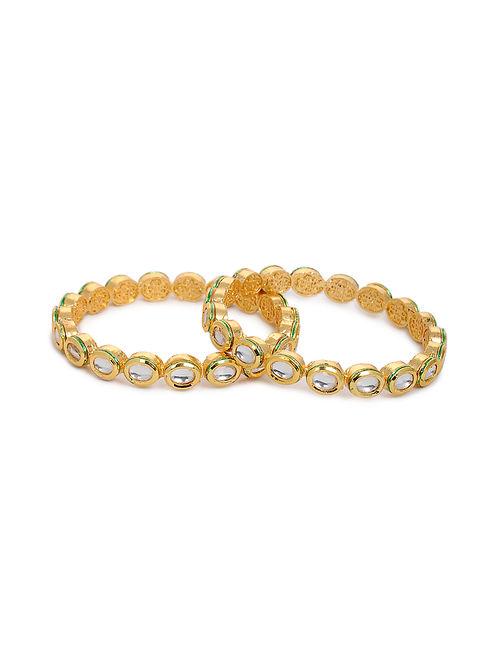 Gold Tone Kundan Bangles (Set of 2) (Bangle Size: 2/4)