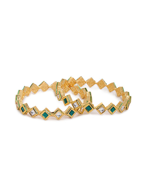 Green Gold Tone Kundan Bangles with Pearls (Set of 2) (Bangle Size: 2/6)