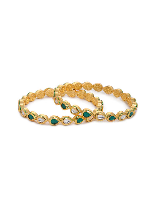 Green Gold Tone Kundan Bangles with Pearls (Set of 2) (Bangle Size: 2/8)
