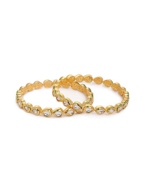Gold Tone Kundan Bangles (Set of 2) (Bangle Size: 2/8)