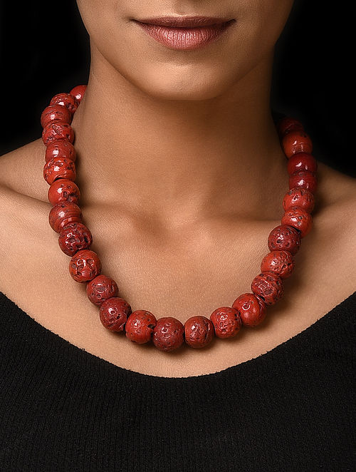 Red Handcrafted Beaded Necklace
