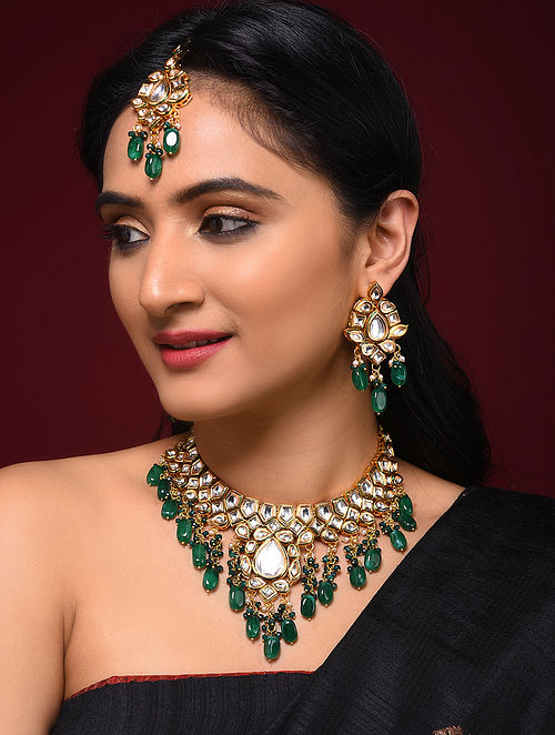 Green Gold Tone Kundan Necklace with Earrings and Maang Tikka (Set of 3)