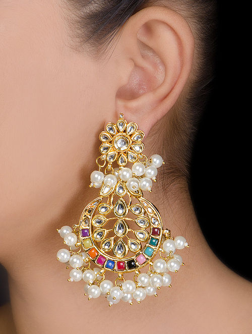 Floral Half-moon Kundan Earrings