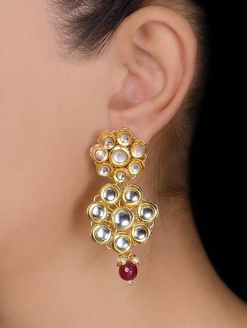 Floral Drop Ruby Kundan Earrings