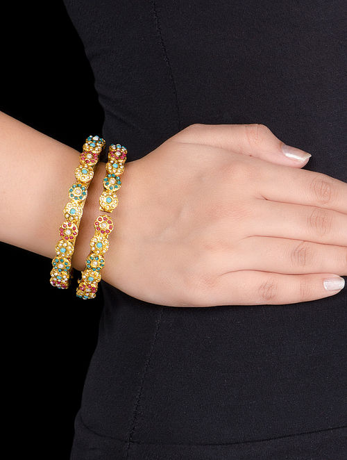 Floral Hinged Opening Kundan Bangles - Set of 2 (Bangle Size - 2/4)