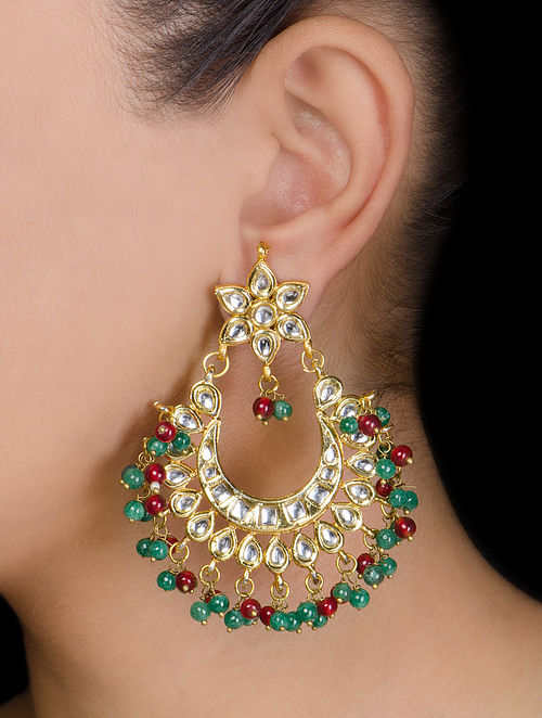 Floral Half-moon Ruby-Emerald Earrings