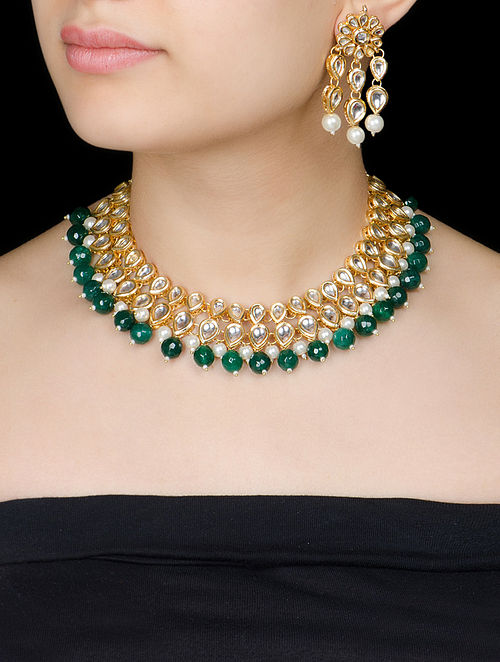 Green - Ivory Jadau Necklace with a Pair of Earrings by Imli Street