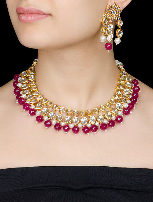 Green - Maroon Jadau Necklace with a Pair of Earrings by Imli Street