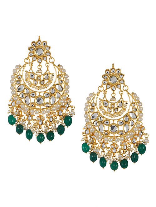 Green - Ivory Half-Moon Jadau Earrings by Imli Street