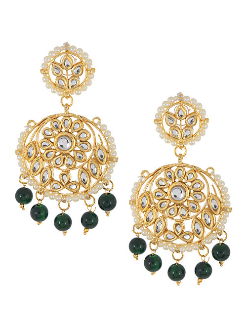 Green - Ivory Floral Jadau Earrings by Imli Street