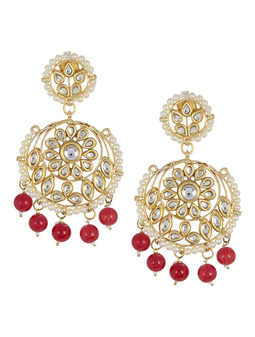 Red - Ivory Floral Jadau Earrings by Imli Street