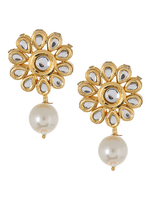 Golden - Ivory Floral Jadau Earrings by Imli Street