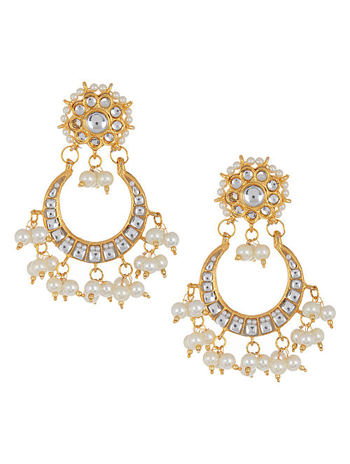 Golden - Ivory Half-Moon Jadau Earrings by Imli Street