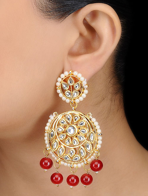 Classic Red Kundan-inspired Gold Tone Earrings