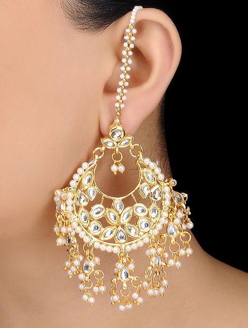 Classic Kundan-inspired Gold Tone Earrings