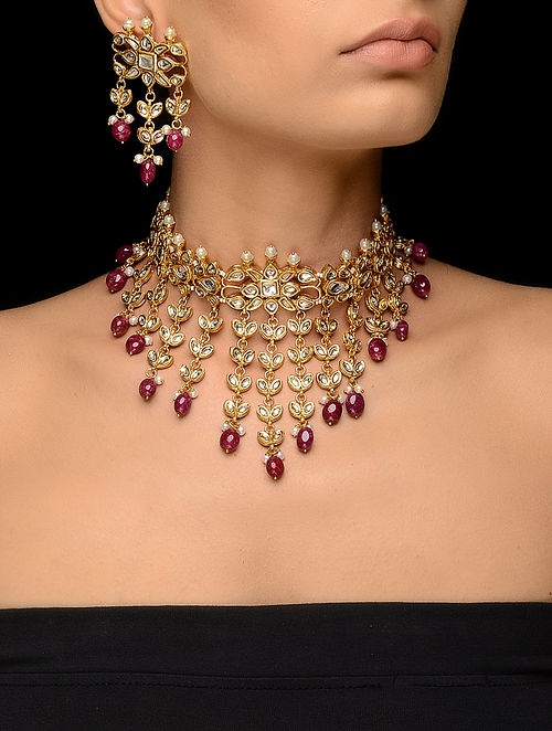 74797b273a346 Buy Pink Kundan-inspired Gold Tone Necklace with a Pair of Earrings (Set of  2) Online at Jaypore.com